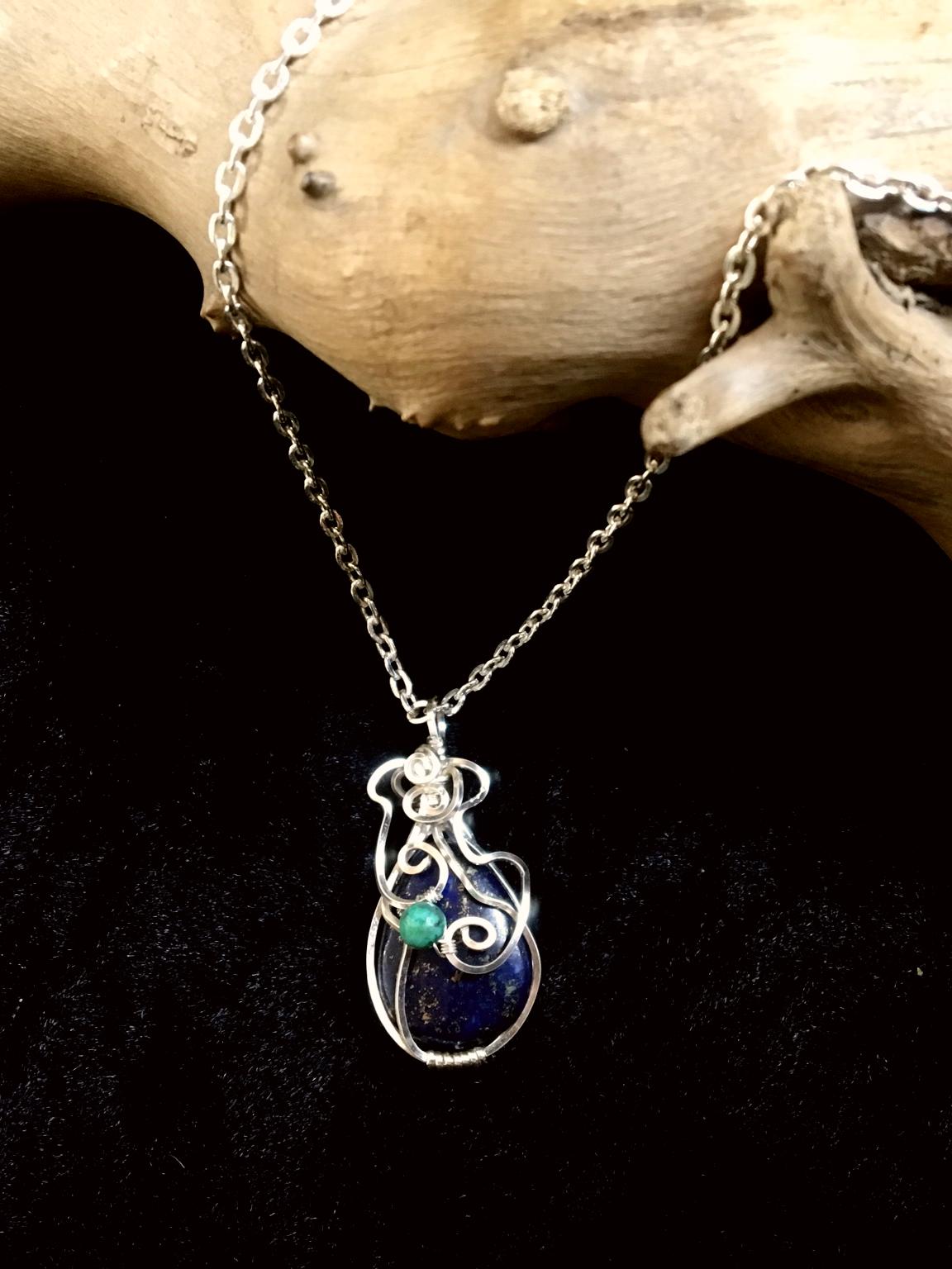Qhresnna Quartz Necklace - Lapis Lazuli and Turquoise- Silver Plated