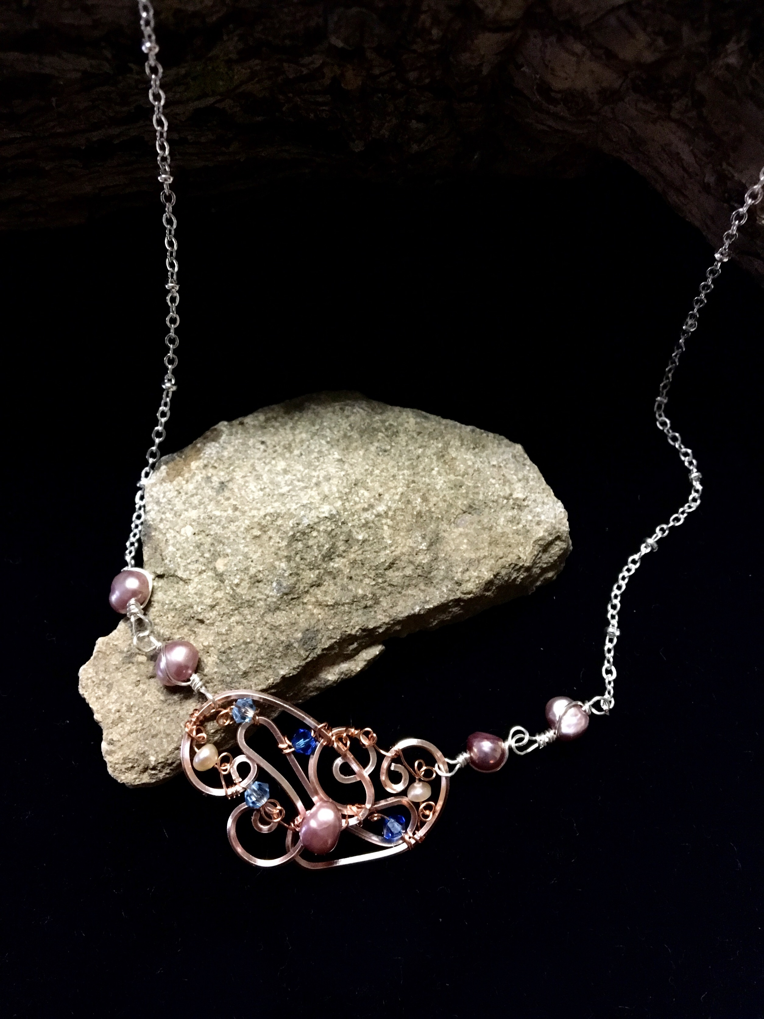 Dainty Deva Necklace - pink pearls and swarovsky - Silver Plated Rose gold Color
