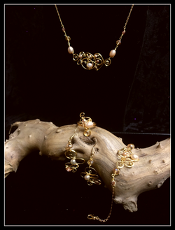 Dainty Deva Set - Pearls and amber swarovsky - Silver Plated and Goldfilled