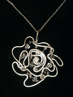Ethereal Esther Pendant - Large Flower - Aluminum Silver - Swarovsky