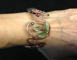 2014 Copper Cuff With brass leaf and beads.jpg