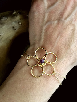 Candid Claire Bracelet  - Twist Flower - Silver Plated Gold Color - Amethyst