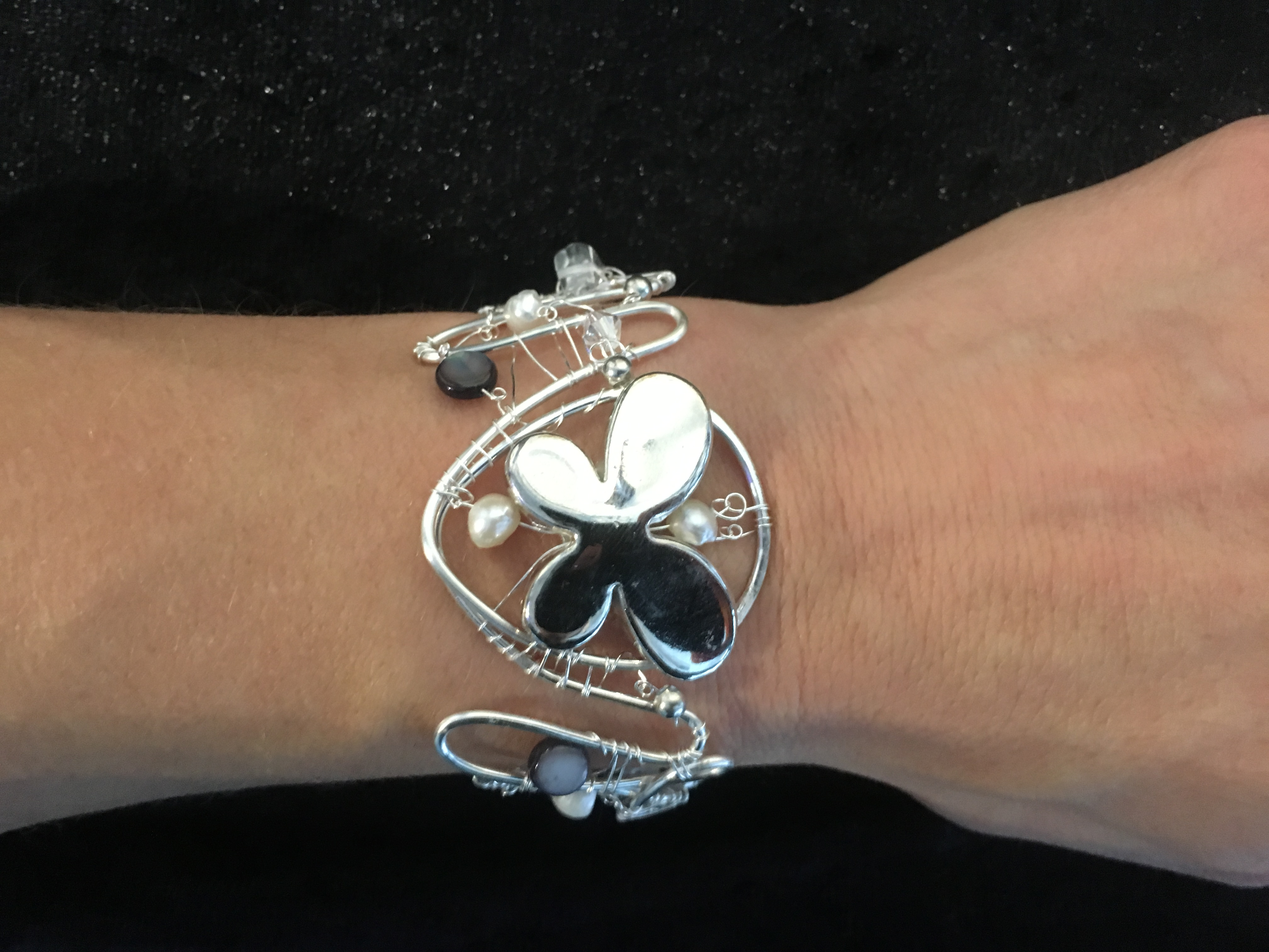 2016 Silver butterfly cuff on hand