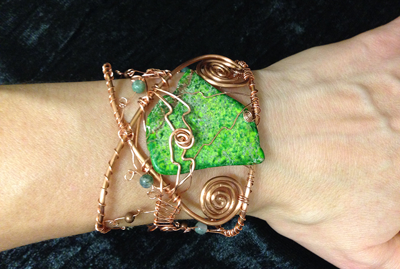 2014 Copper Cuff with Green stone on hand