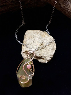 Qhresnna Quartz Necklace - Amber Agathe  - Silver Plated and Sterling Chain