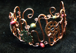 2014 Copper Cuff With Gears and beads