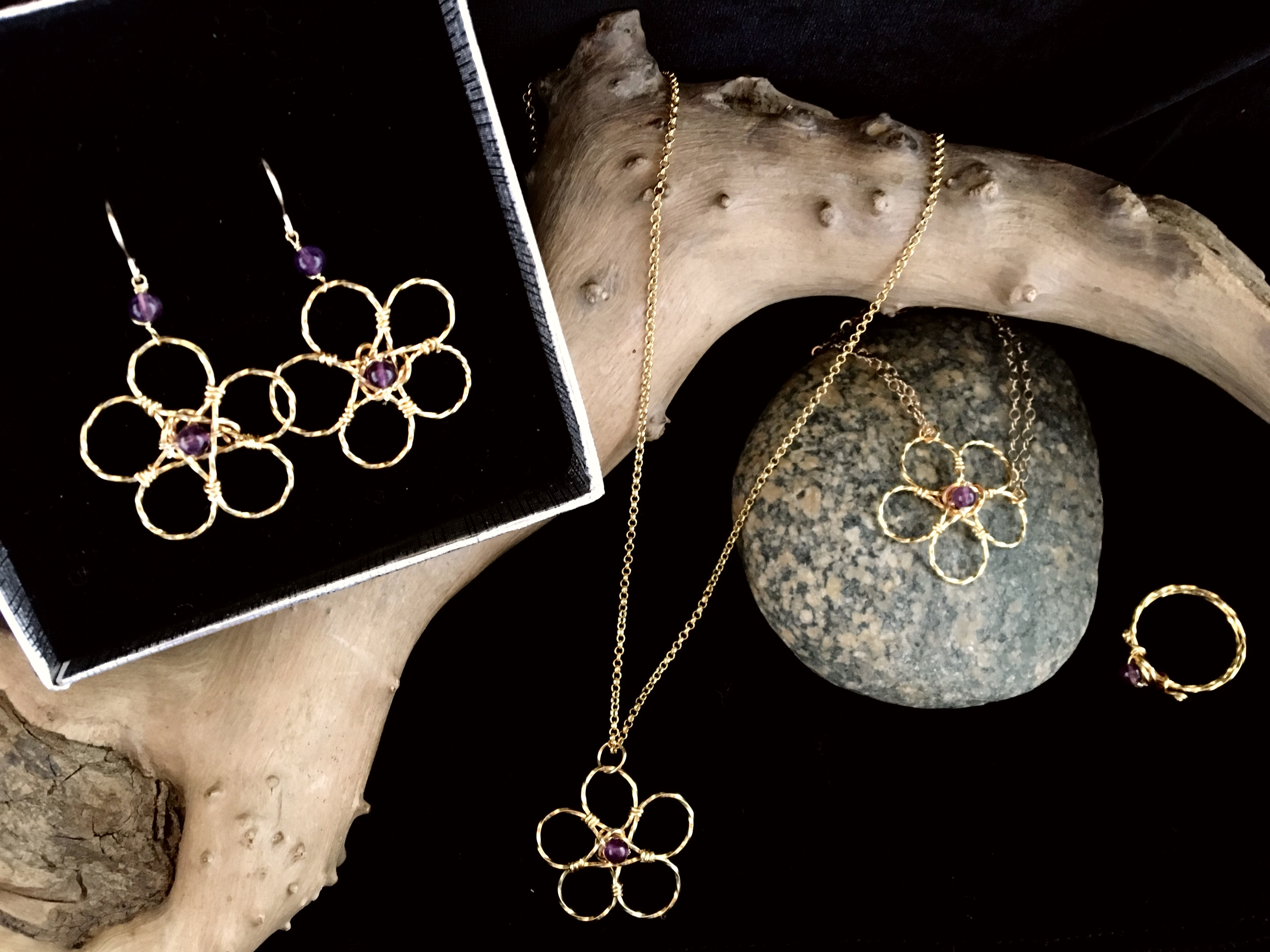 Candid Claire Set - Twist Flower - Silver Plated Gold Color - Amethyst
