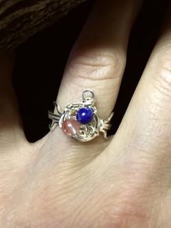 Dainty Deva Ring - Lapis Lazuli and agathe - Silver Plated