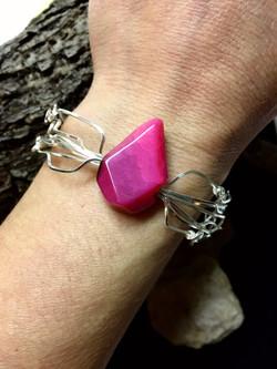 Qhresnna Quartz Bracelet - Pink Agathe - Silver Plated