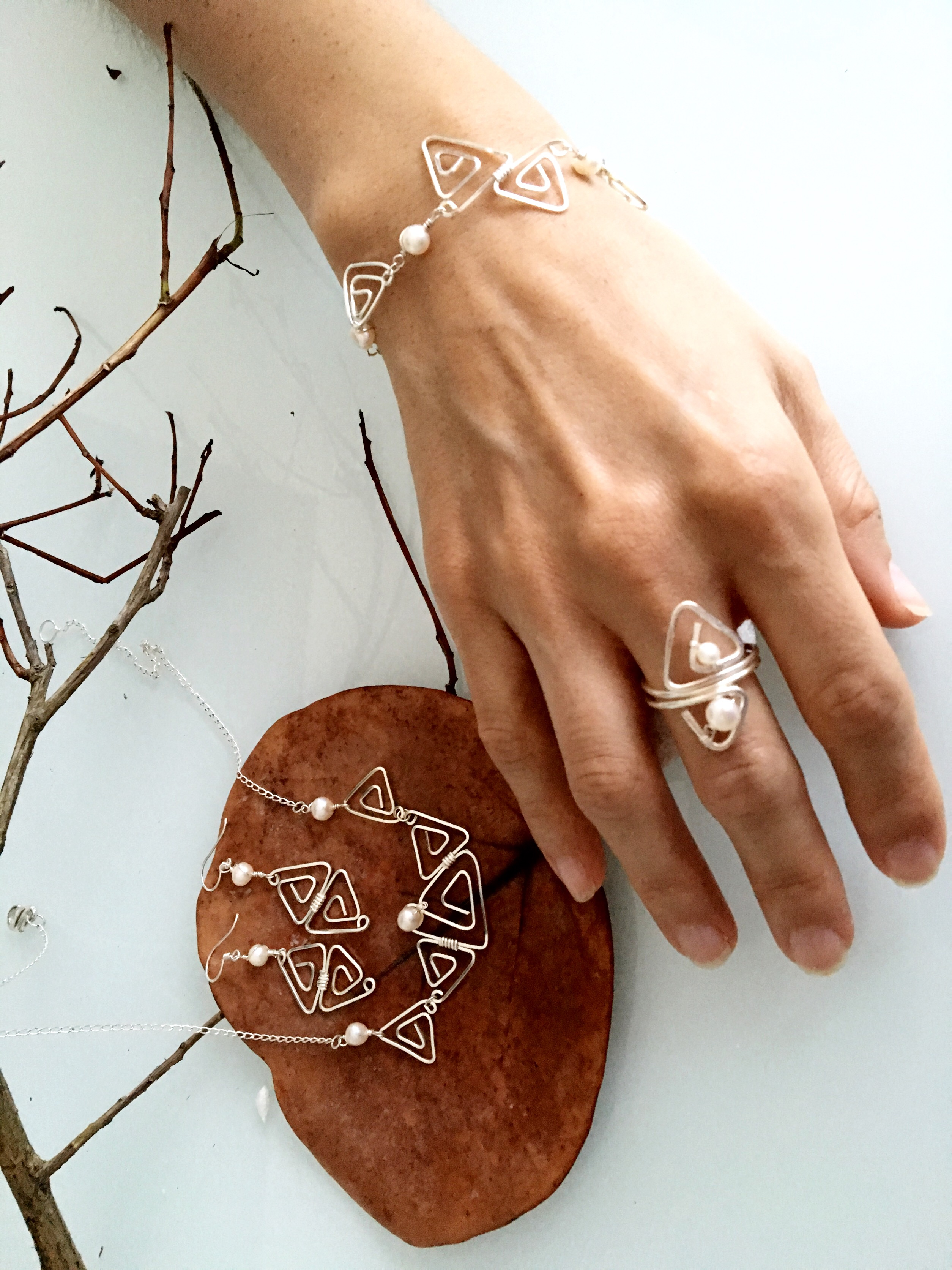Candid Claire Set - Triangles - Silver Plated