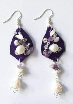 2014 Purple Beaded Leather Earrings