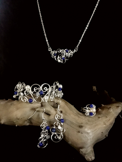Dainty Deva Set - Pearls and Lapis Lazuli - Silver Plated