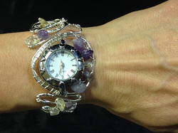 2014 Silver plated copper watch with amethyst on hand