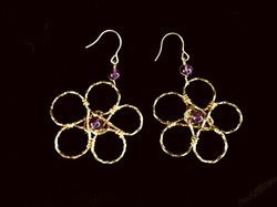 Candid Claire Earrings - Twist Flower - Silver Plated Gold Color - Amethyst