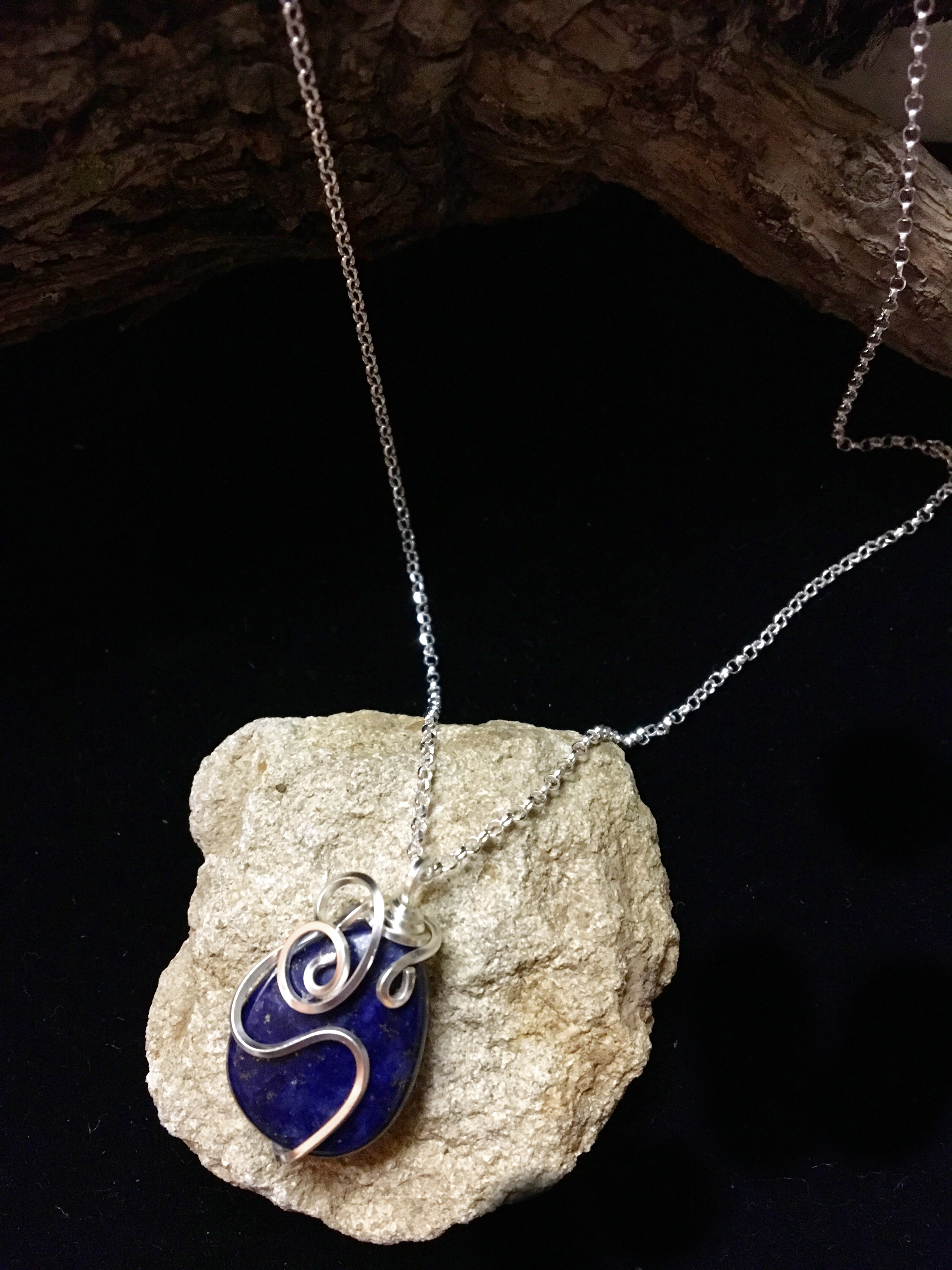 Qhresnna Quartz Necklace - Lapis Lazuli - Silver Plated and Sterling Chain