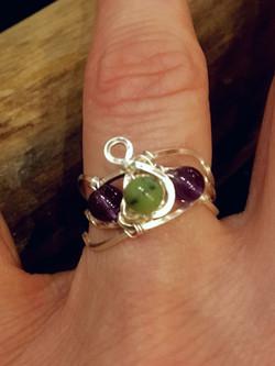 Qhresnna Quartz Ring - Amethyst and Jade  - Silver Plated.