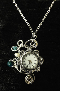 2014 Silverplated copper pendant watch with turquoise and pearls