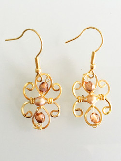 Dainty Deva Earrings - Pearls - Silver Plated Gold Color and Goldfileld hook