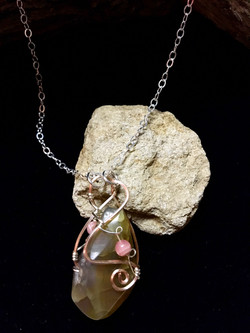 Qhresnna Quartz Necklace - Amber Agathe, rhodocrosite - Silver Plated and Sterling Chain