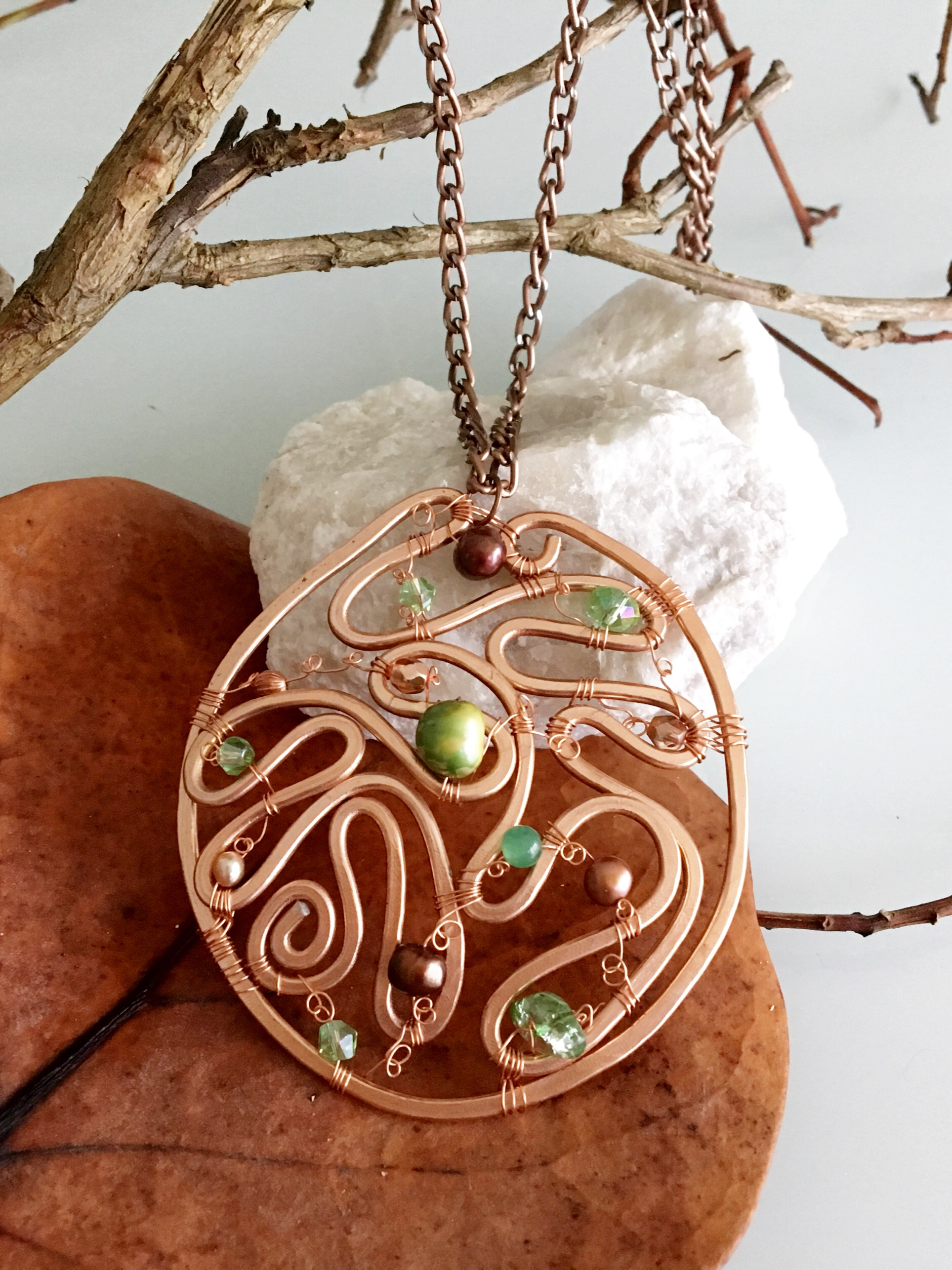 Ethereal Esther Necklace - LArge Medallion - Aluminum Copper - Pearls
