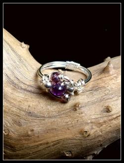 Dainty Deva Ring - - Pink Swarovsky -Silver Plated Rose gold Color