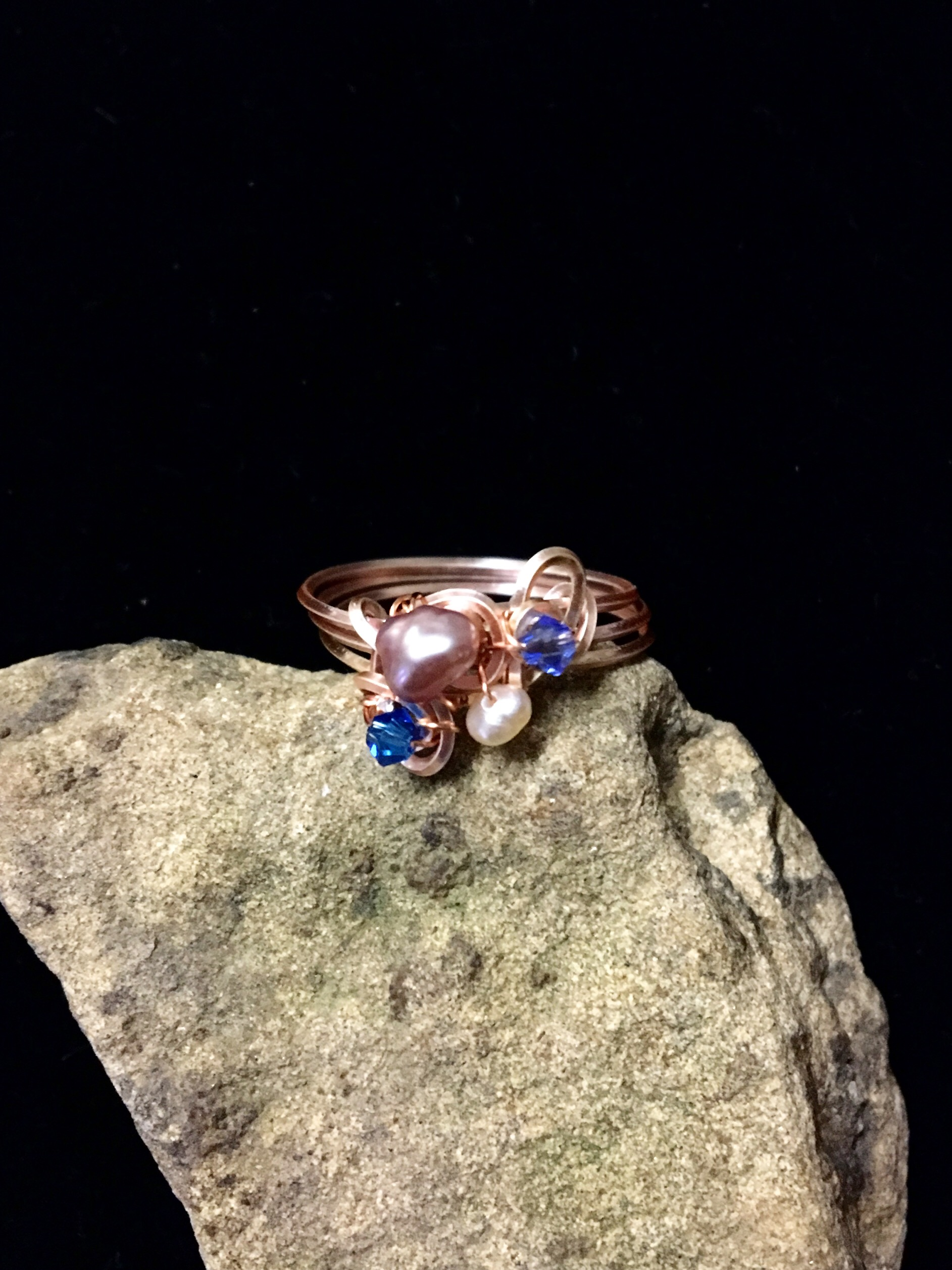 Dainty Deva Ring - pink pearls and swarovsky - Silver Plated Rose gold Color.