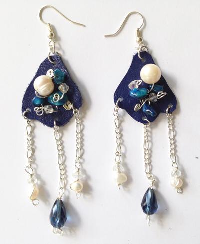 2014 Blue Beaded Leather Earrings