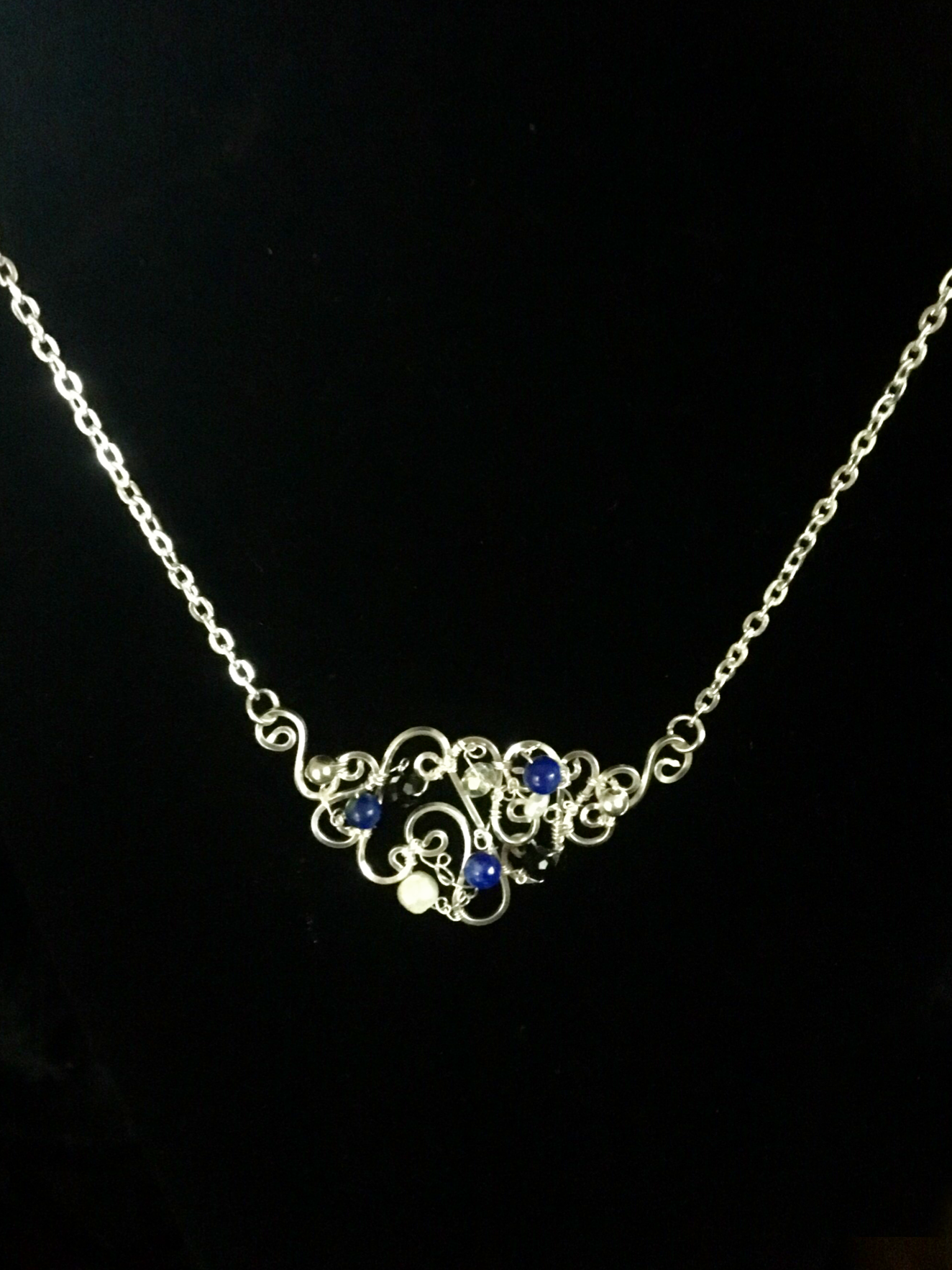 Dainty Deva Necklace - Pearls and Lapis Lazuli - Silver Plated