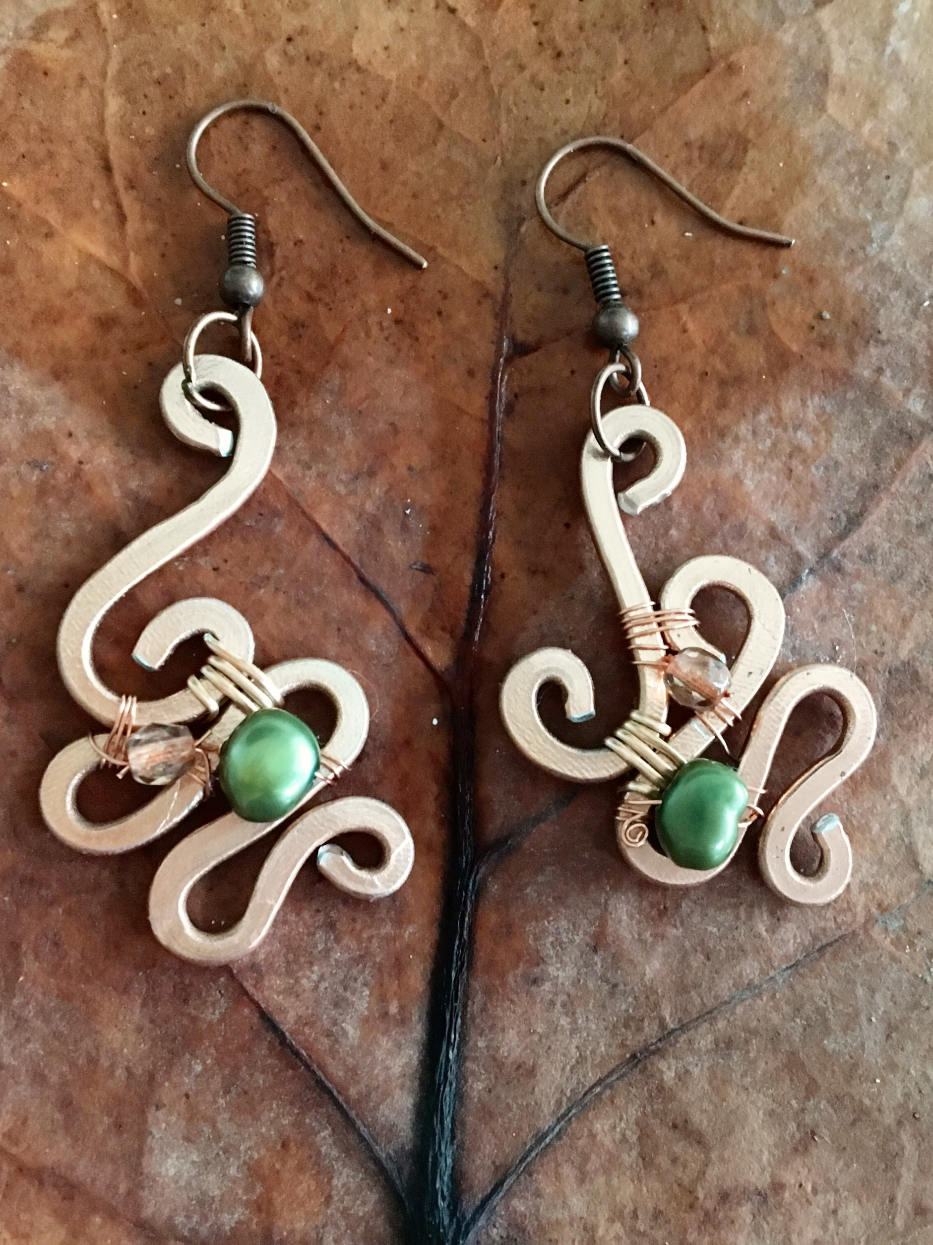 Ethereal Esther Earrings - Aluminum Copper - Pearls