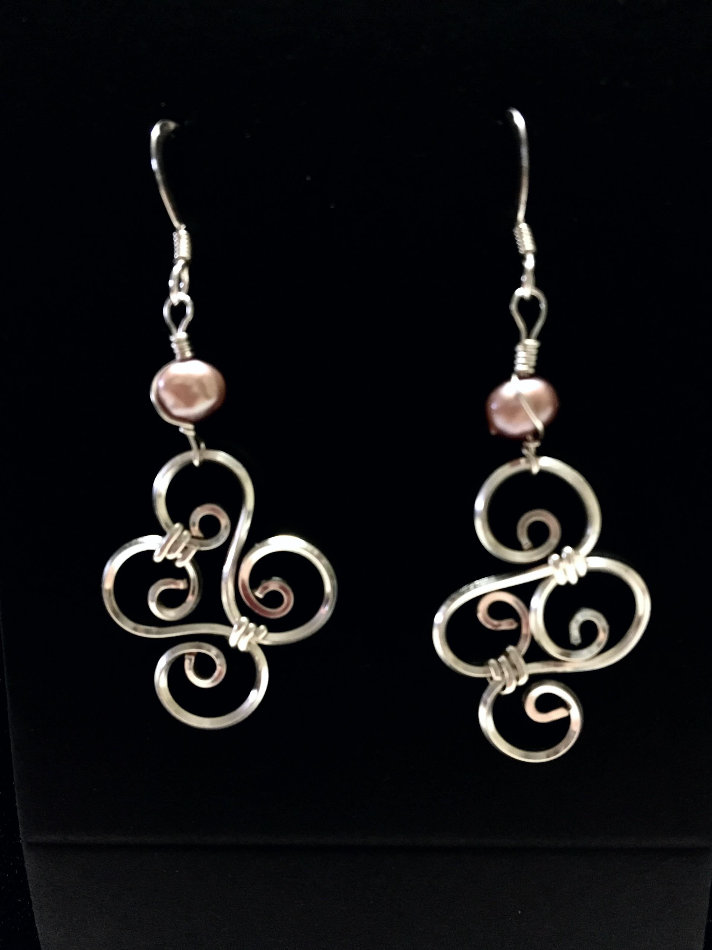 Candid Claire Earrings - Swirls - Silver Plated and rhodocrosite
