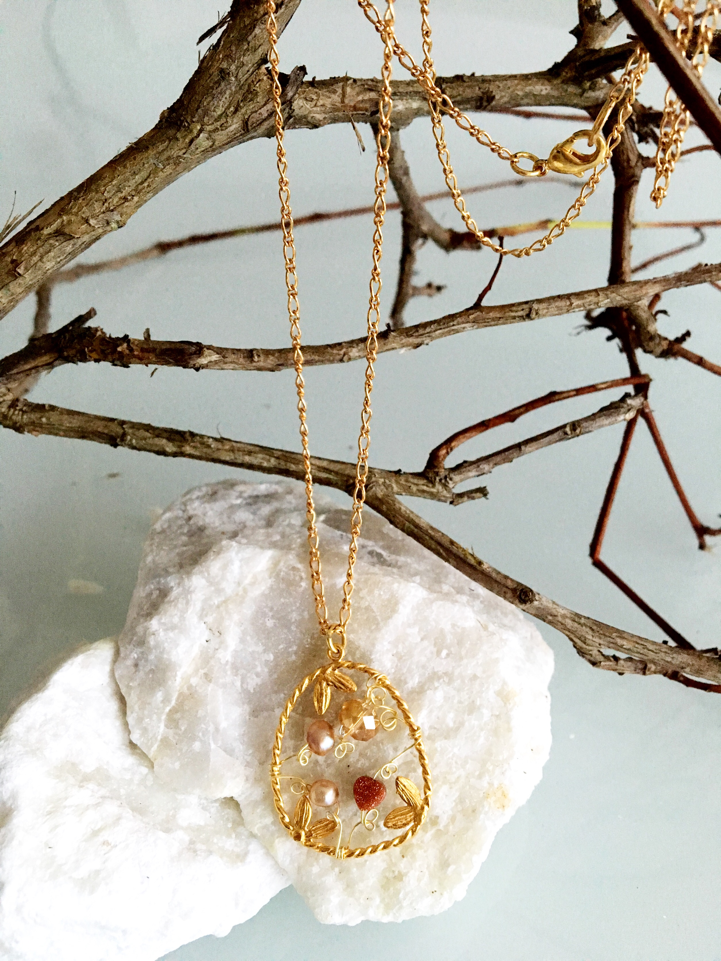 Dainty Deva Necklace - Goldfilled Leaves - Silver Plated Gold color