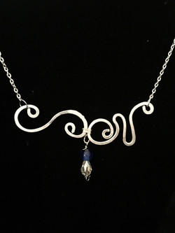 Ethereal Esther Necklace - Double Swirl - Aluminum Silver