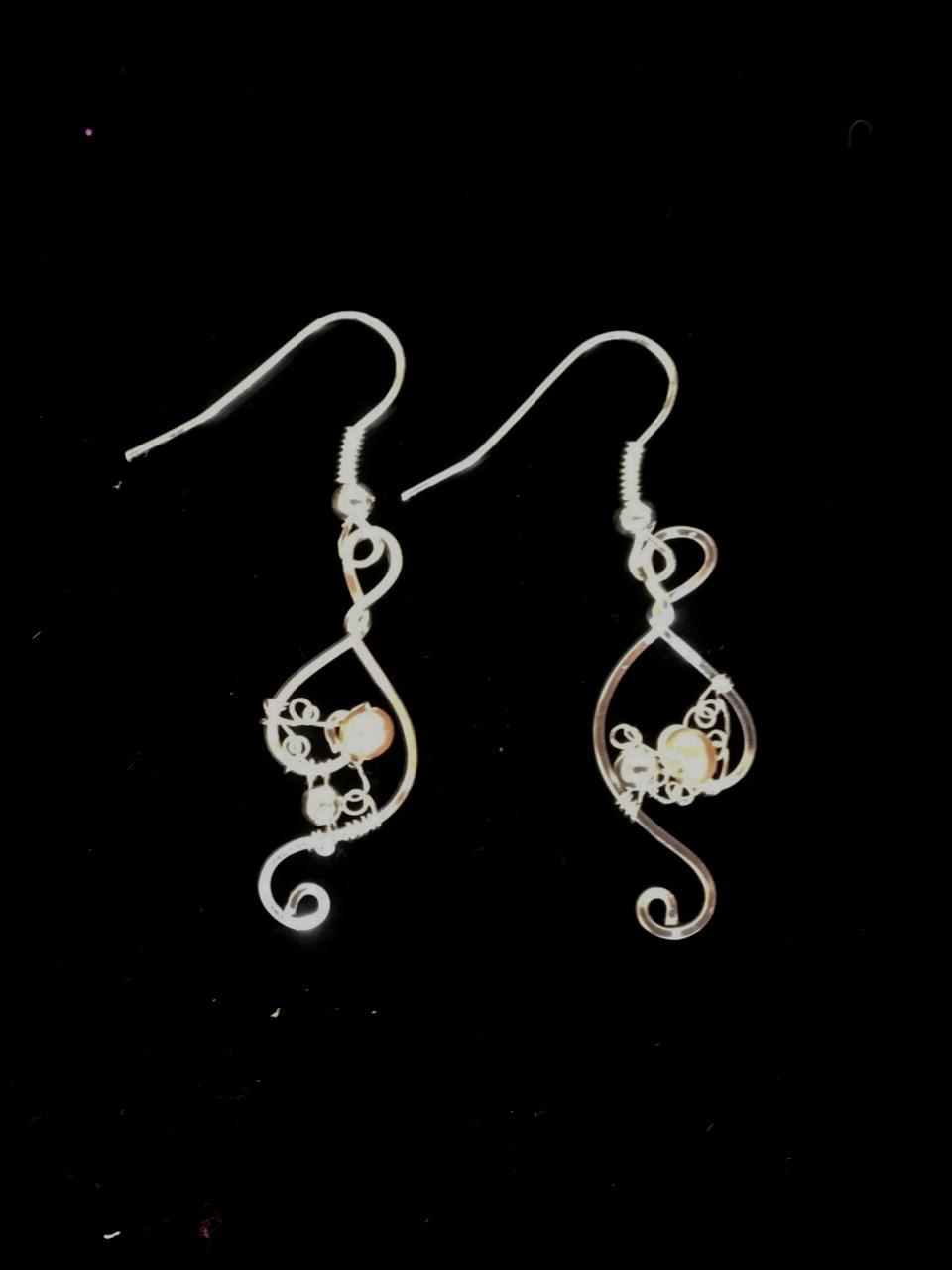 Dainty Deva Earrings - Pearls and Black Swarovsky