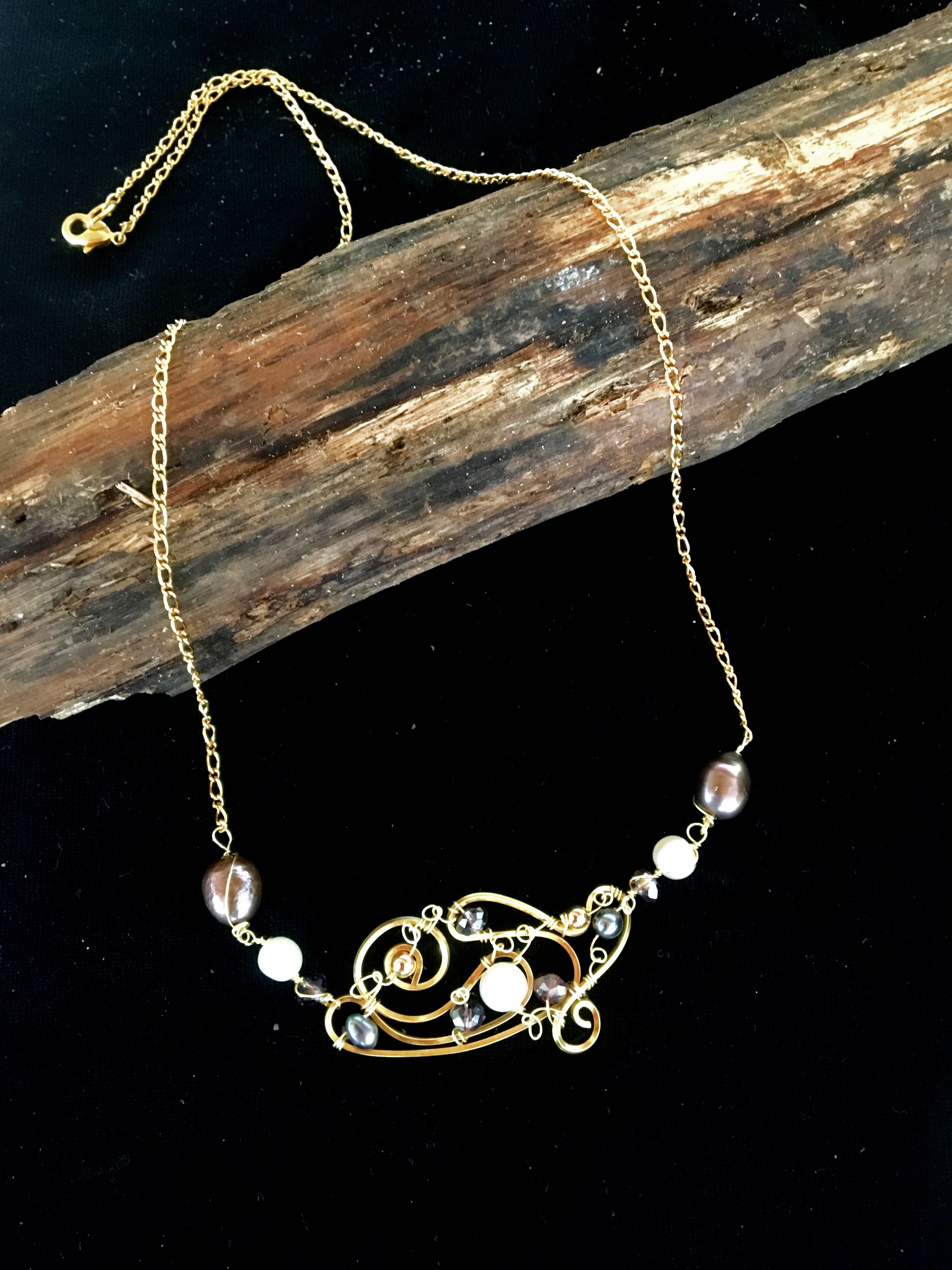 Dainty Deva Bracelet- Pearls and crystals - Silver Plated Gold Color