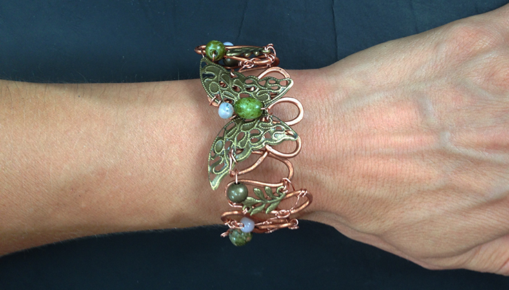 2014 Copper Cuff with small brass butterfly