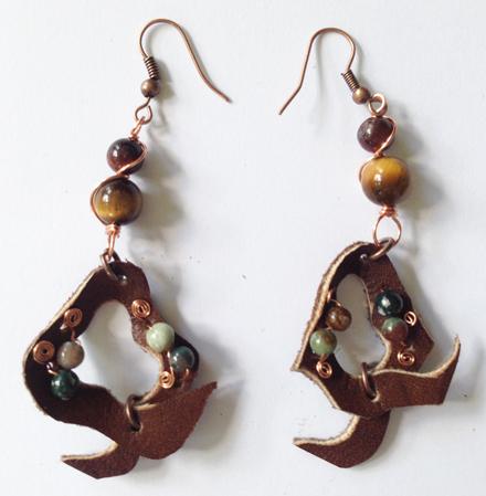 201 Brown Leather Beaded Earrings