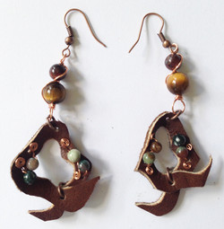 201 Brown Leather Beaded Earrings