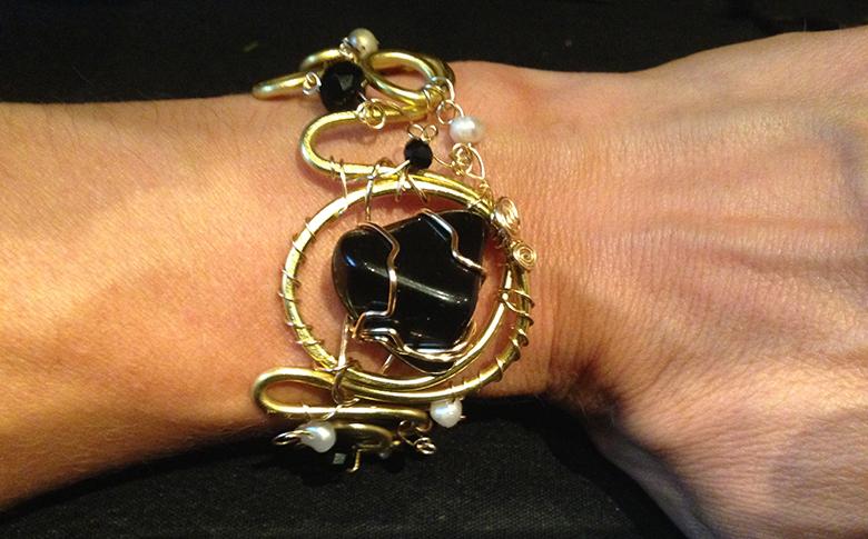 2014 Long Transition bracelet with Obsidian