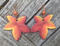 2014 Leather and Paper Leave Earrings