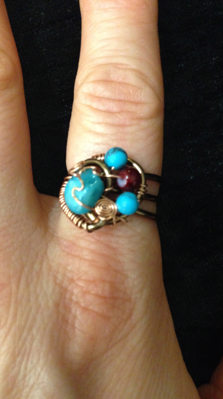 2014 Ring copper and beads, turquoise