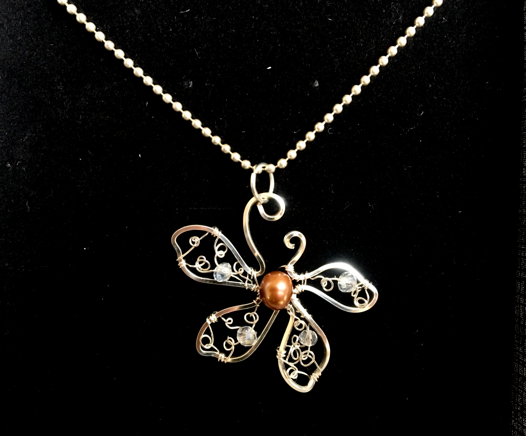 Dainty Deva Necklace - Flower - Fresh Water Pearl - silver Plated and Sterling