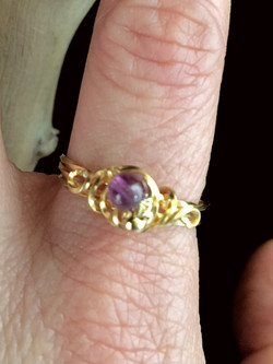 Candid Claire Ring- Twist Flower - Silver Plated Gold Color - Amethyst