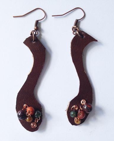 2014 Brown LEather Beaded Earrings 3