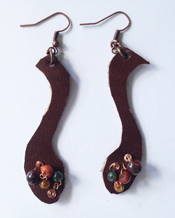2014 Brown LEather Beaded Earrings 3
