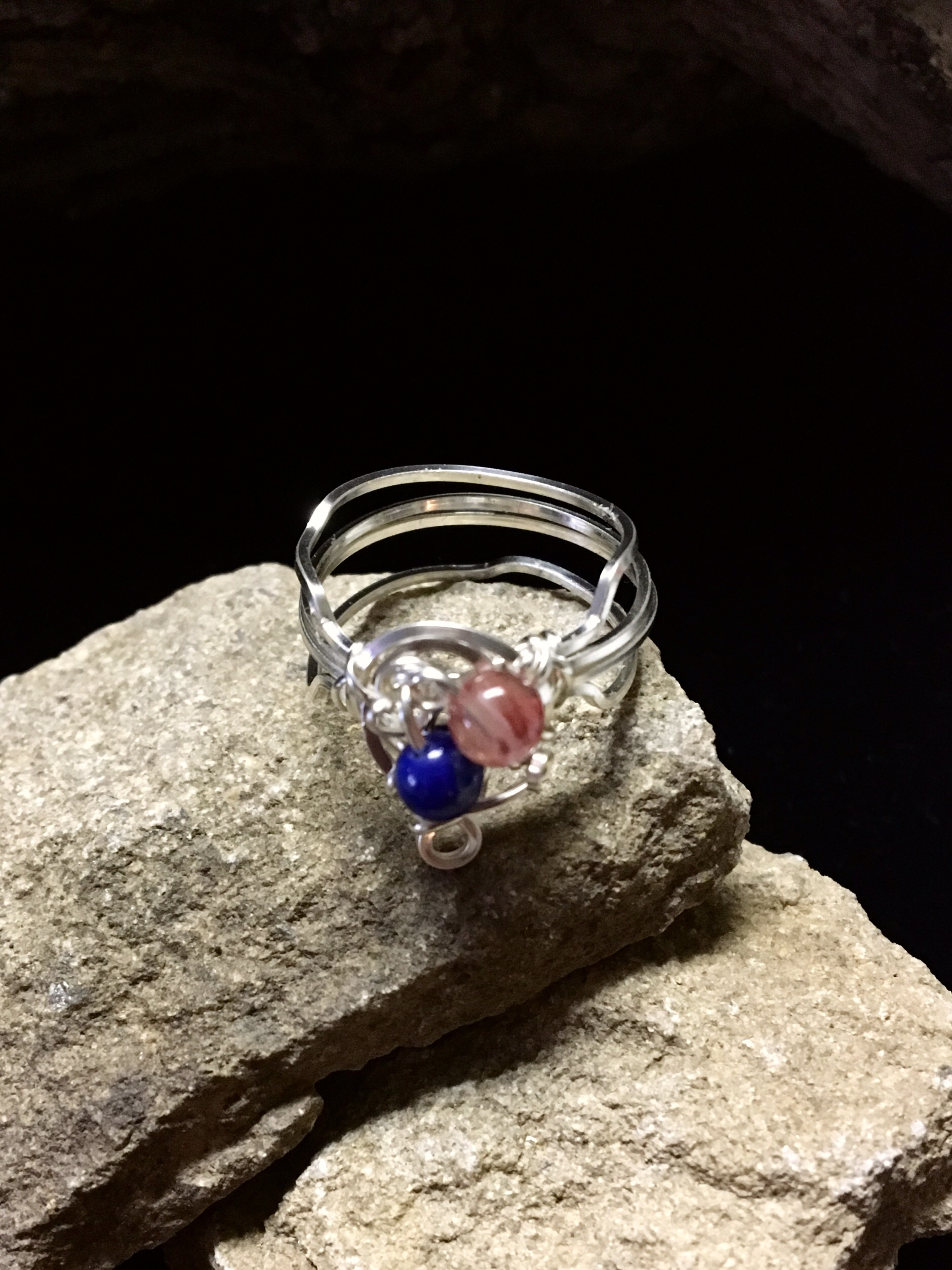 Qhresnna Quartz Ring - Lapis Lazuli and Agathe - Silver Plated