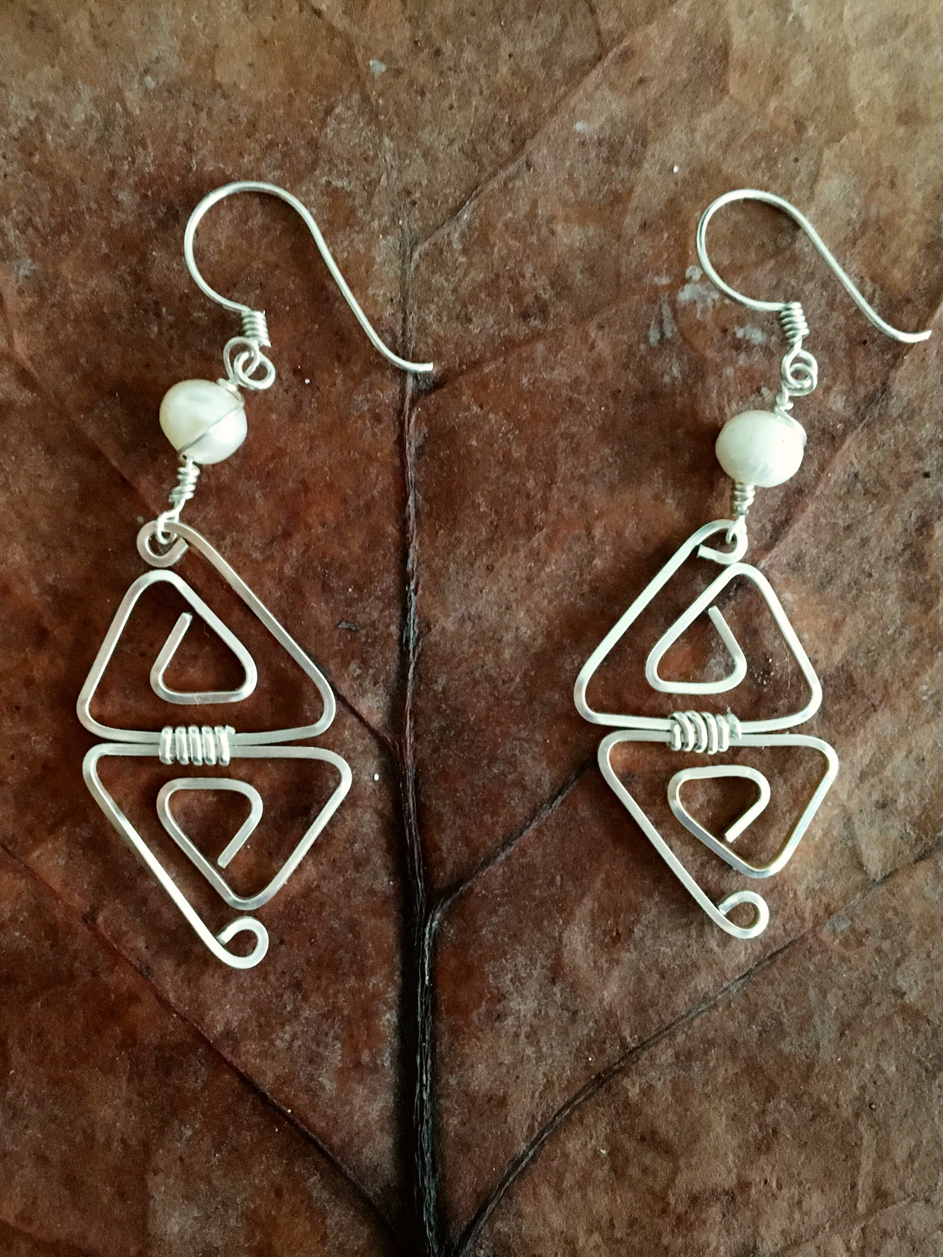 Candid Claire Earrings - Double Triangle - Silver Plated