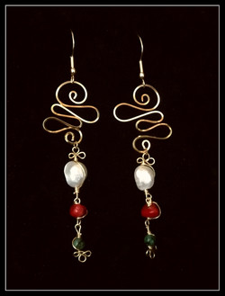 Dainty Deva Earrings - Swirl and Pearl - Silver Plated Gold Color