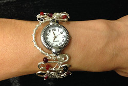 2014 Silver plated copper watch with beads on hand