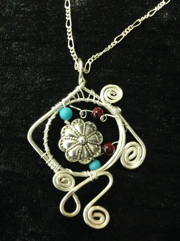 2014 Pendant Silver plated and beads