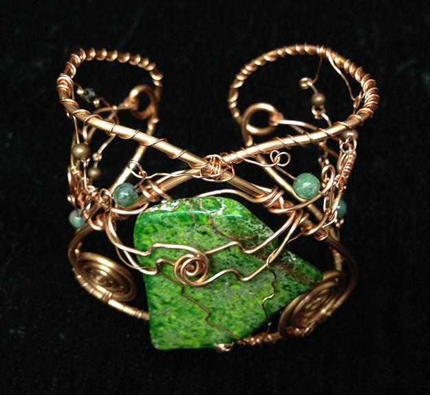 2014 Copper Cuff with Green stone